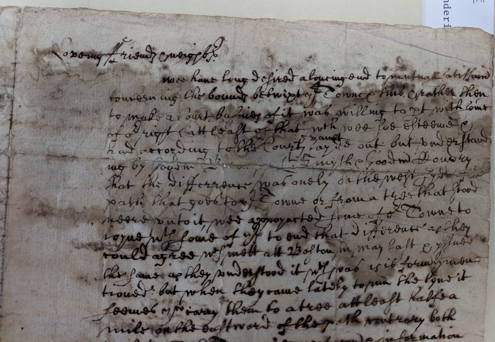 Document of Committee of Andover, 1658. MSS 0.247. Phillips Library, Peabody Essex Museum, Salem, MA.