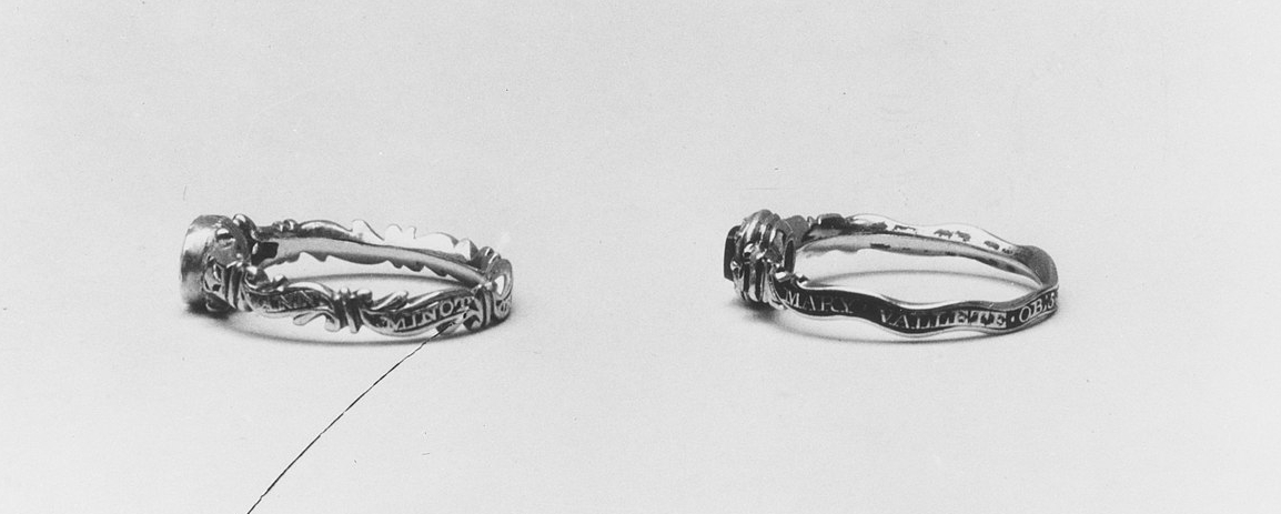 American Ring, 1764. Probably made in New York, New York, United States. Metropolitan Museum. Inscribed on outside of band: Mary Vallete Ob.5 June 1762, AET. 61 Ys. 8 Ms