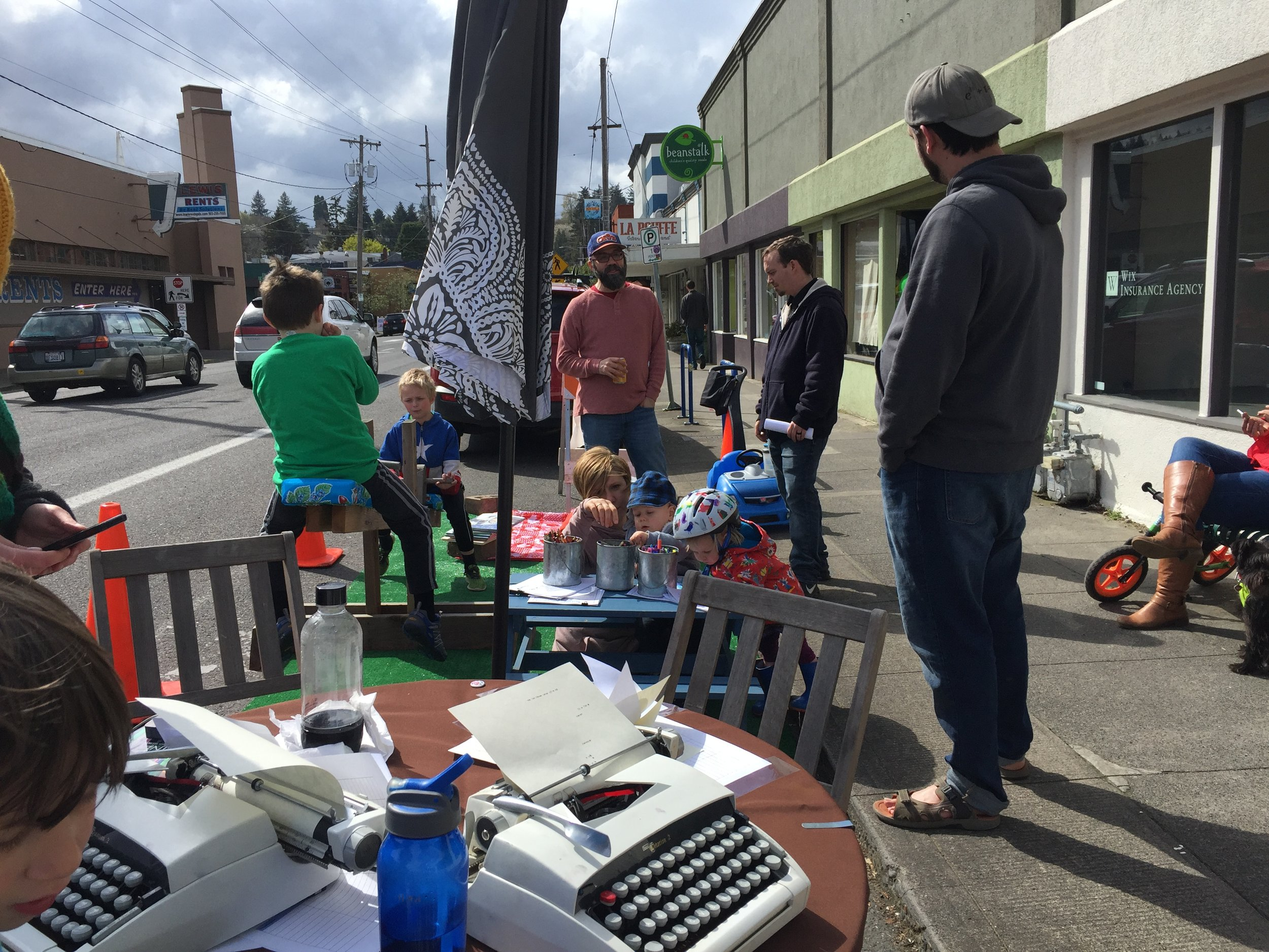 """The MNA Land Use & Transportation Committee organized a""""parklet"""" on Stark Street in April 2018 as part of Design Week Portland."""