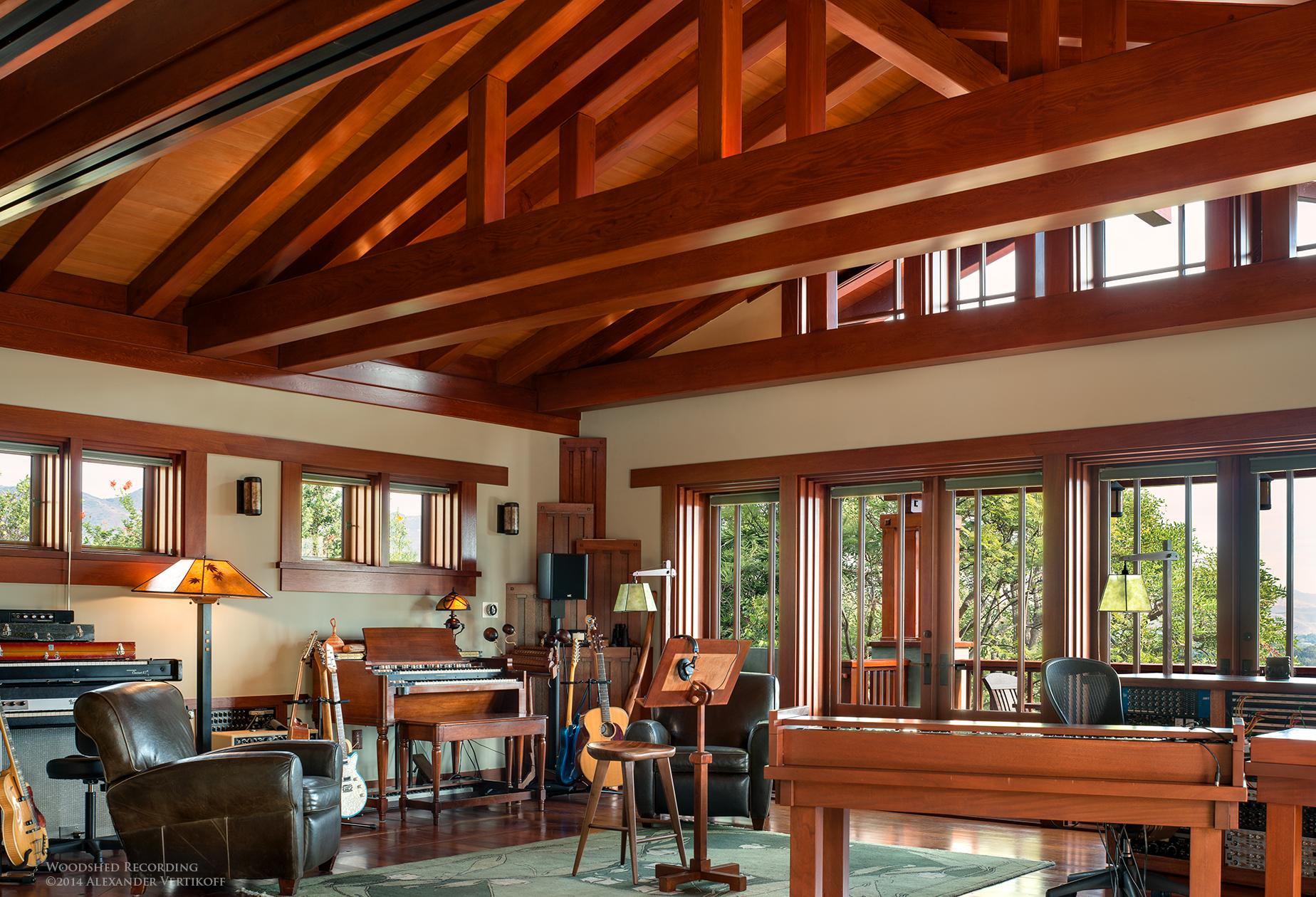 - The very nearly mythical Woodshed Recording is home to many illustrious musicians.The modular design, serene Malibu environment and solar-powered aesthetics provide a unique recording experience which is globally renowned.