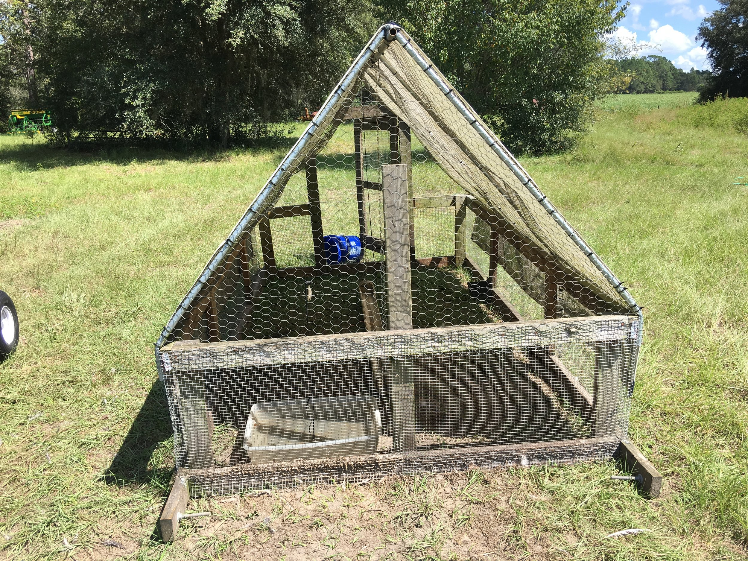 An empty chicken tractor