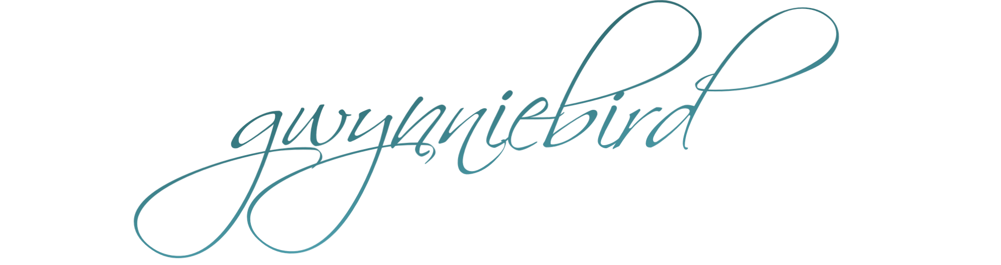 cursive teal blue text which reads gwynniebird