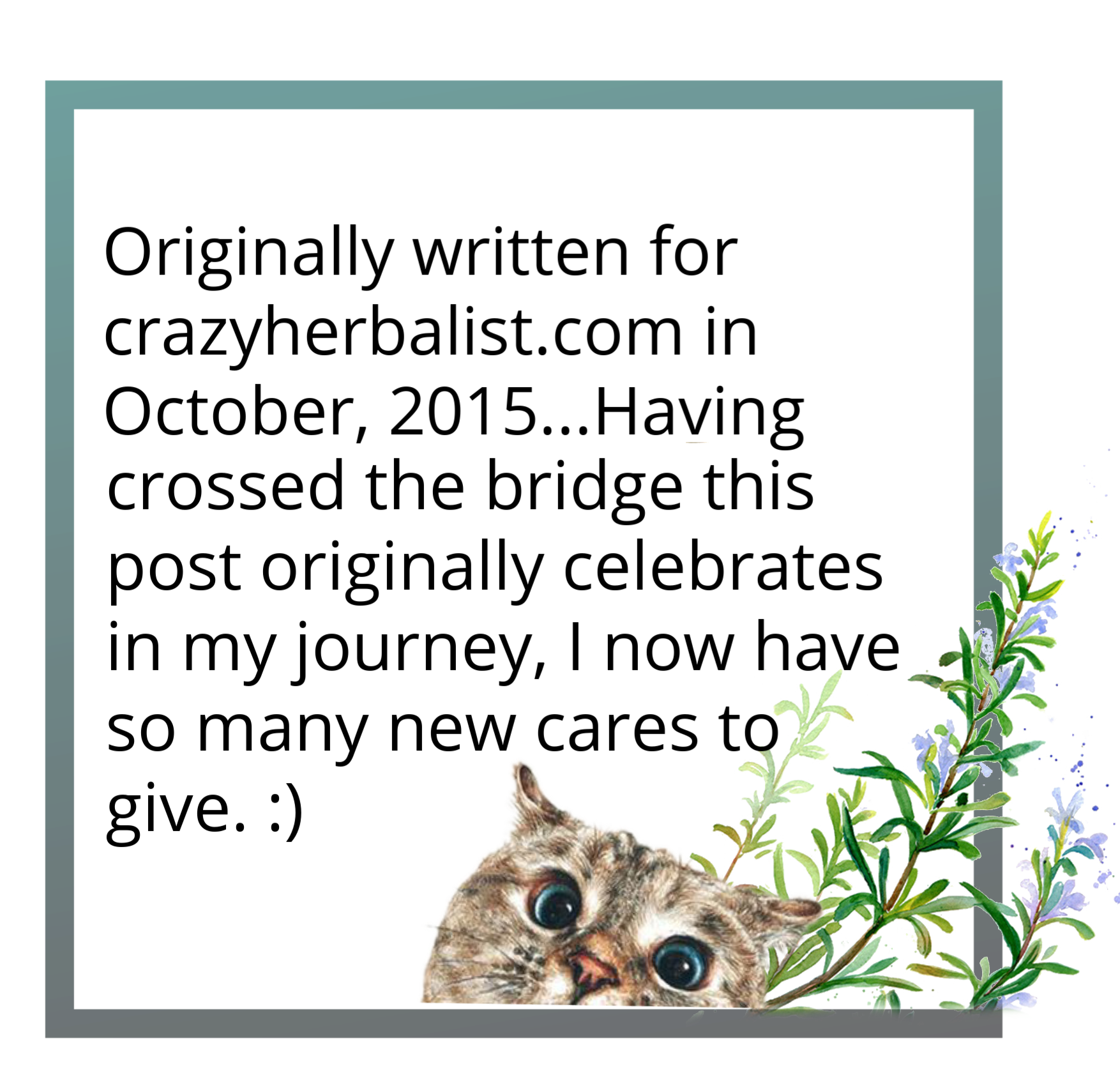 a light blue grey square with black text that reads originally written for crazyherbalist.com in October 2015 and having crossed the bridge in my journey this post celebrates I now have so many new cares to give. There is a graphic of an orange cat head peaking up at the bottom with some rosemary leaves behind it