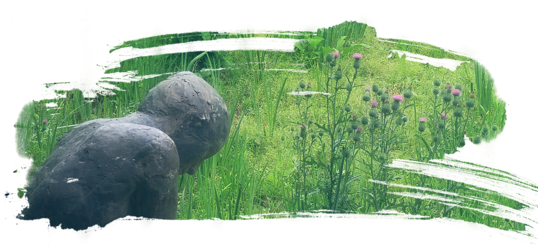 a brushstroke shaped image with a grey femme body stone statue kneeling in front of bright green grass and a patch of purple topped thistles