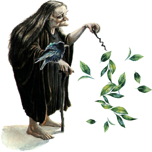 a watercolor image of a little elder white lady with long grey hair in a tunic type robe with a crooked stick wand making some leaves float and leaning on her cane with a white background