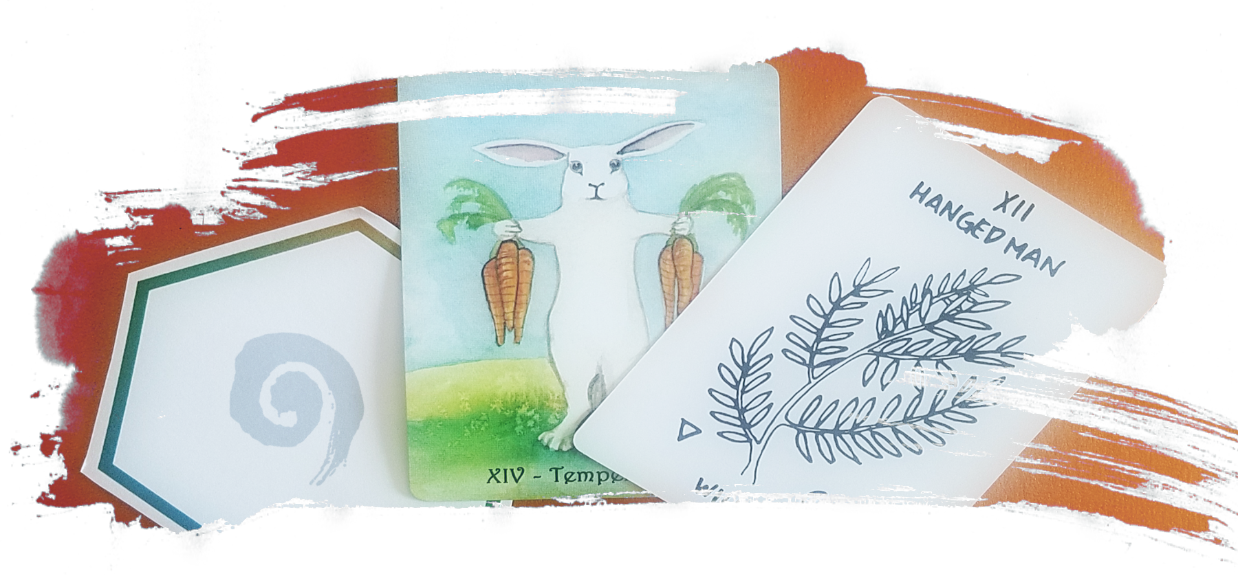 a brushstroke shaped image of three tarot cards on a copper background one is white with black lettering that says the hanged man and has a black outline of a willow branch on it and another is a white hexagon with a teal border and a light grey spiral in the middle and the third is a water color image of a bunny holding three carrots in each outstretched arm with black lettering that says temperance