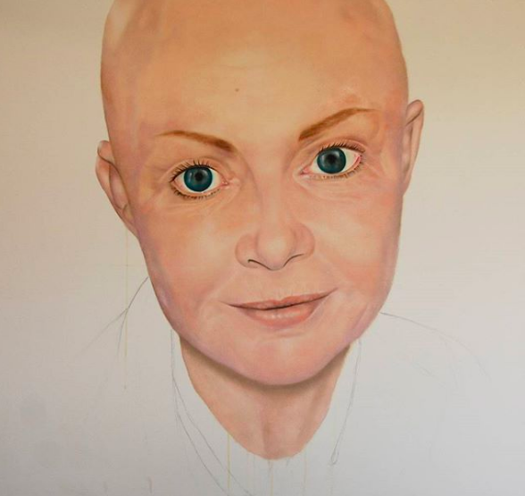 'Hold my hand' - Gail Porter (TV personality and presenter), painting by Andrea Tyrimos
