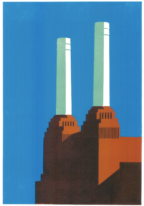 Battersea Blue IV by Paul Catherall, limited edition linocut