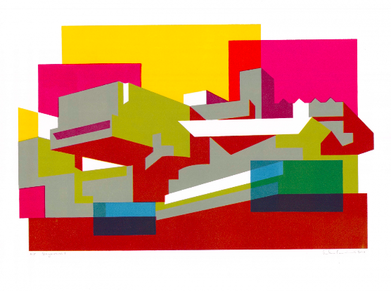 Hayward I. Limited edition of 50 produced in 2010.  A colourful interpretation of one of the brutalist buildings on the South Bank, London