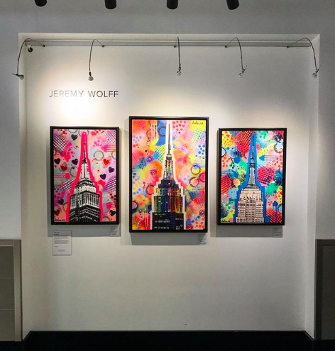 Display of original paintings by Jeremy Wolff at the Empire State Building