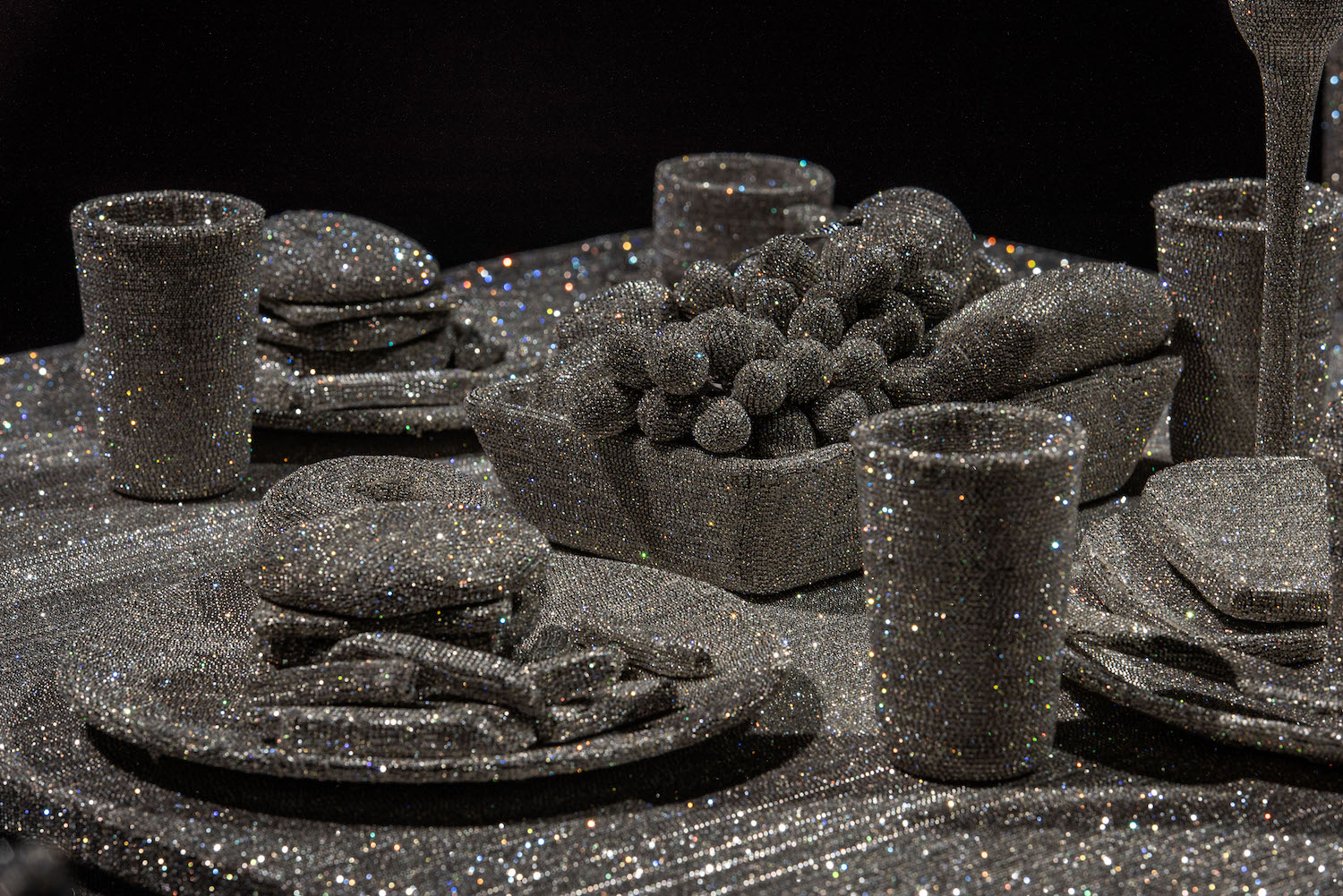 Close up of the crystal covered food and tableware