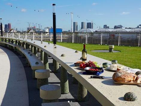 Studio Morison Picnic table at Greenwich Peninsula