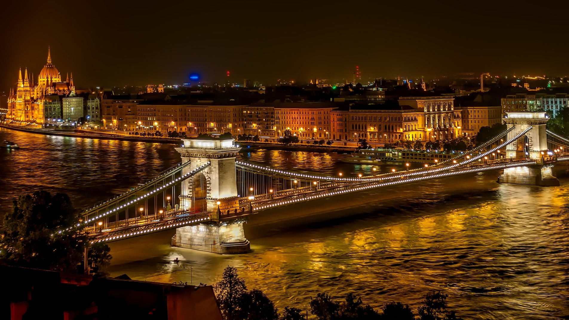 Chain Bridge & Parliament Building - Budapest, Hungary