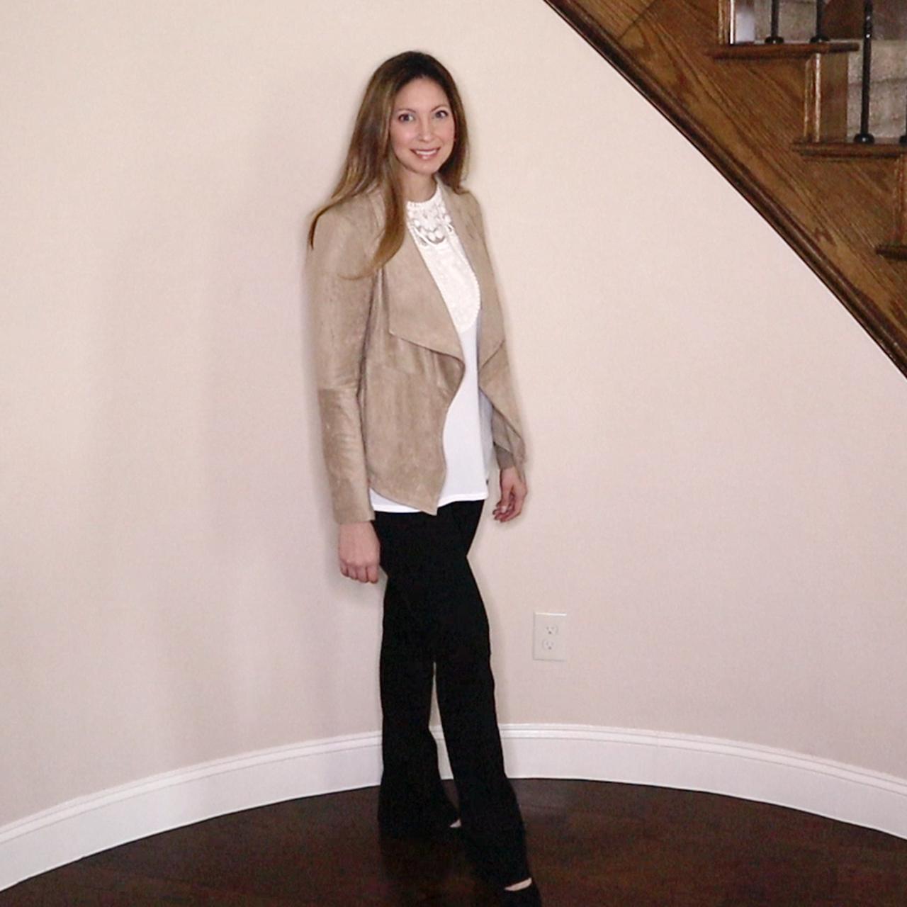 - BB Dakota Nicholson Faux Suede Drape Front Jacket