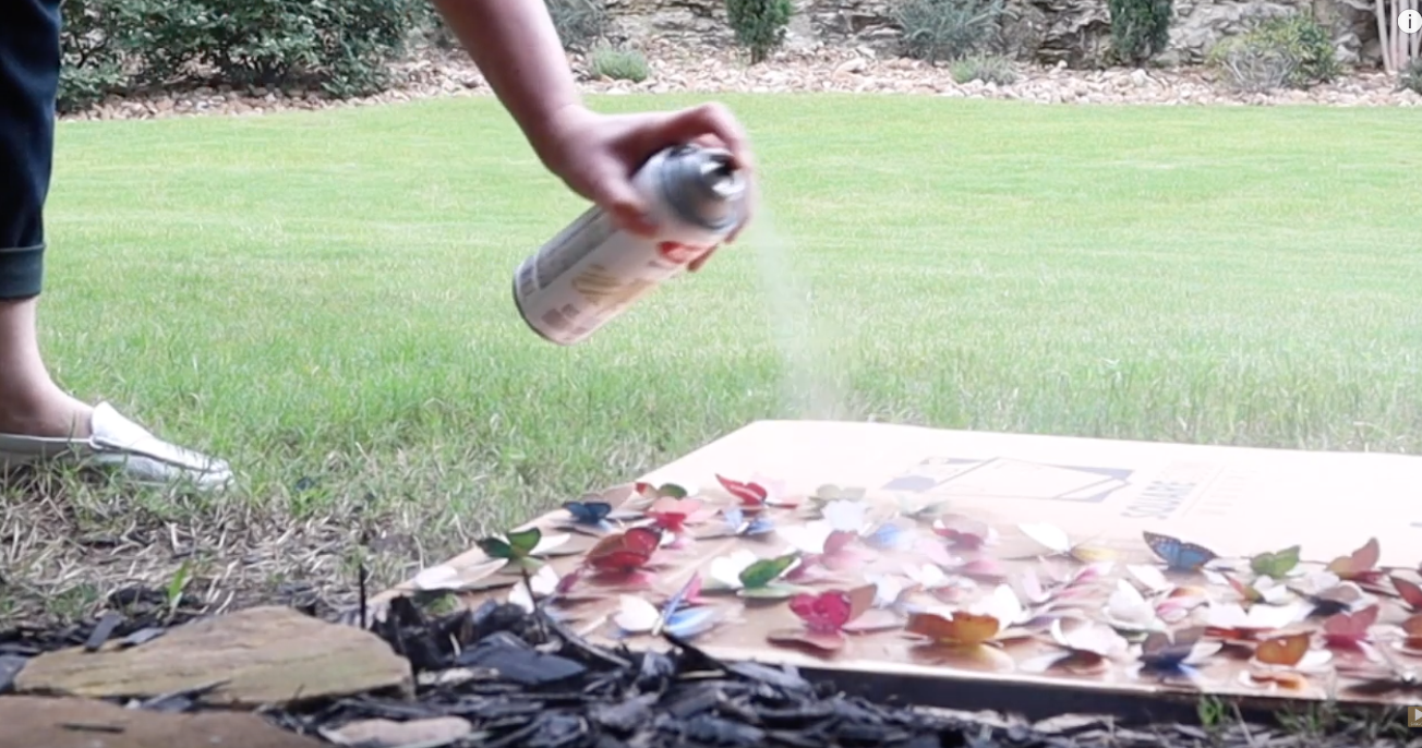 spray painting butterflies