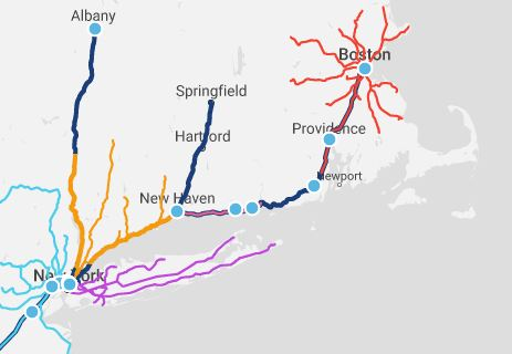 Amtra  k ' s Northeast Corridor, showing New York, New Haven, and Boston, with local commuter-rail networks.  Credit: Amtrak.