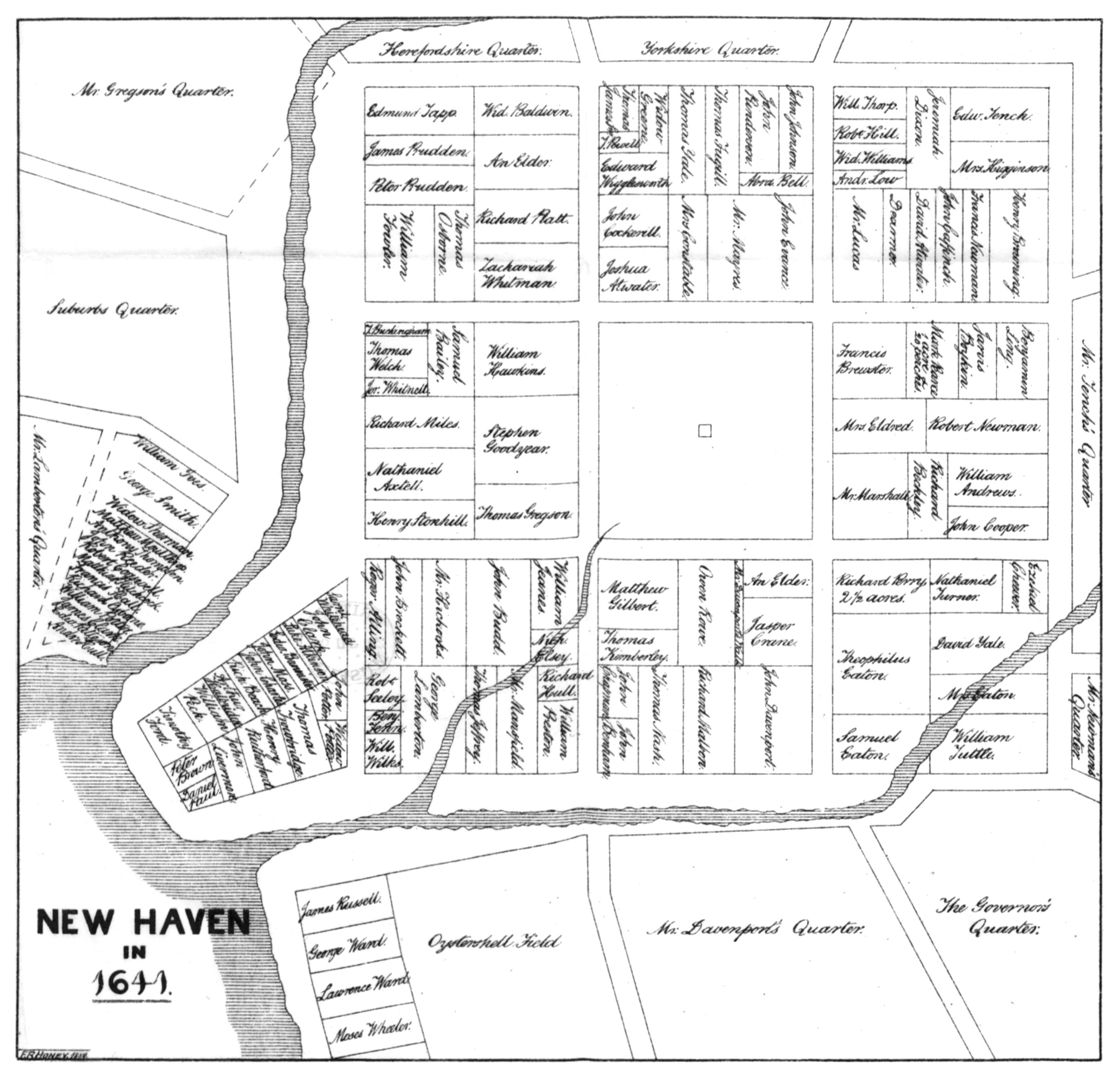 The Atwater map (1881) of New Haven in 1641.