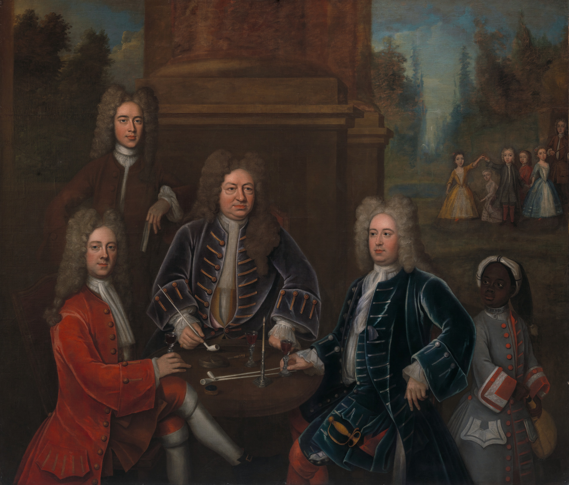 Elihu Yale (seated center); William Cavendish, the second Duke of Devonshire; Lord James Cavendish; Mr. Tunstal; and an Enslaved Servant.  Credit: Yale Center for British Art, Gift of Andrew Cavendish, eleventh Duke of Devonshire.