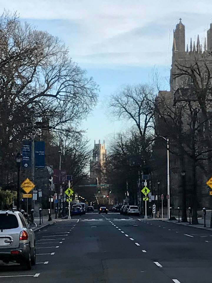 The view north along York Street from Yale  '  s   arts area, which includes the School of Architecture, the School of Drama, the University Art Gallery, and the Center for British Art.  To the right is Wrexham Tower.