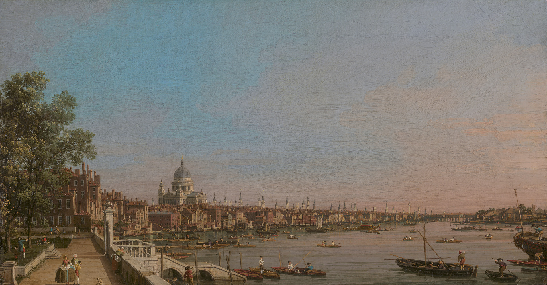Canaletto, 1697–1768, Venetian, active in Britain (1746–55),  The City from Near the Terrace of Somerset House , ca. 1750, Oil on canvas, Yale Center for British Art, Paul Mellon Collection.
