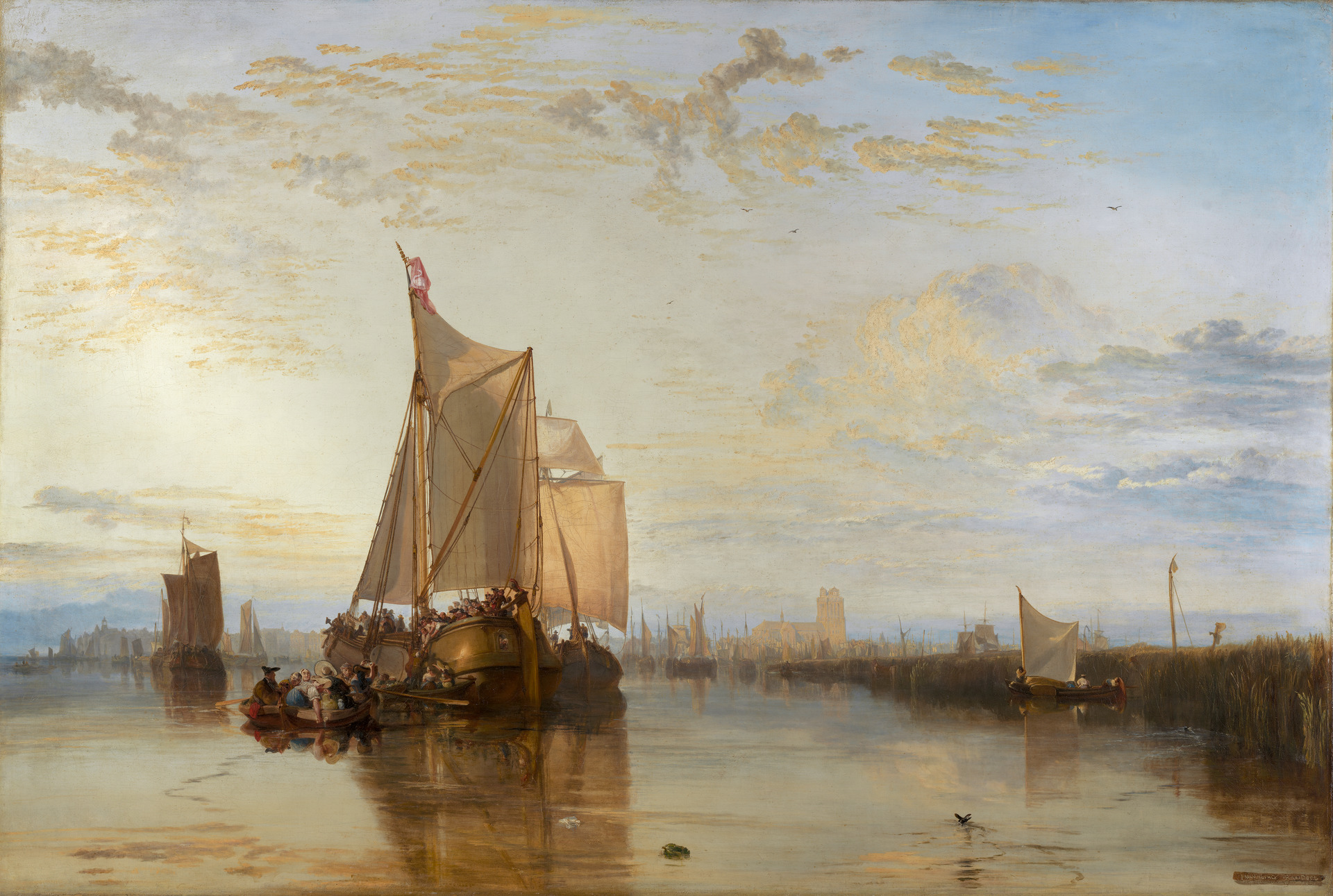 Joseph Mallord William Turner, 1775–1851, British,  Dort or Dordrecht: The Dort packet-boat from Rotterdam becalmed , 1818, Oil on canvas, Yale Center for British Art, Paul Mellon Collection.