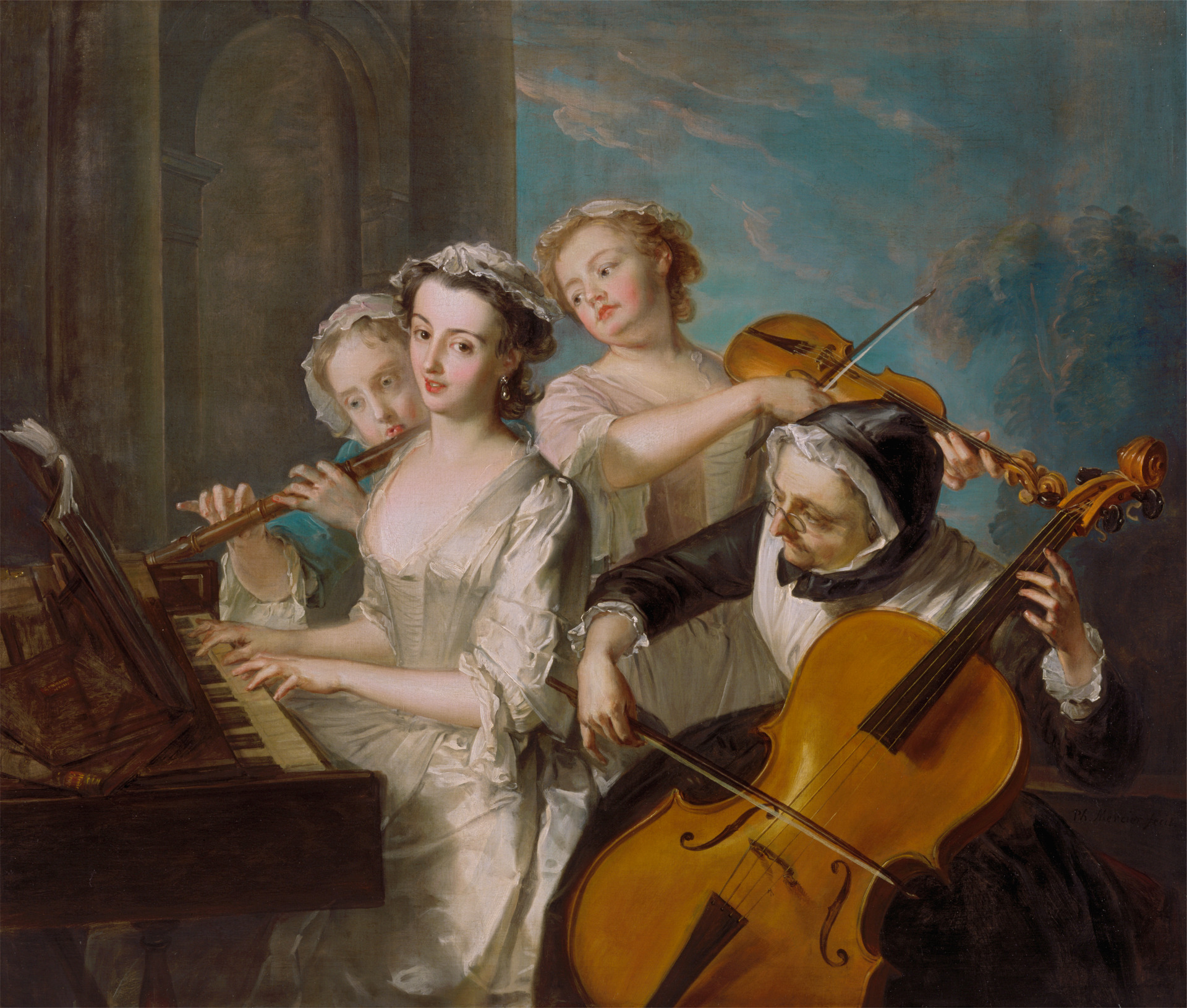 Philippe Mercier, 1689 or 1691–1760, Franco-German, active in Britain (from 1716),  The Sense of Hearing,  1744 to 1747, Oil on canvas, Yale Center for British Art, Paul Mellon Collection .