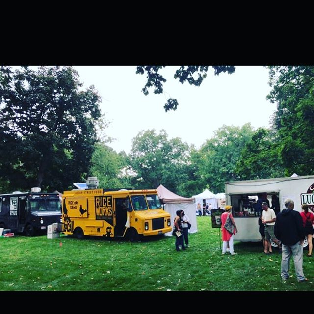 Rain or shine.... find us at art in the park all weekend! #comeeat #fineart #boise #idaho #juliadavis #local #foodtruck #yellow #riceworksasianfood #supportlocal