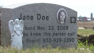 Fond du Lac County, WI, Jane Doe's tombstone
