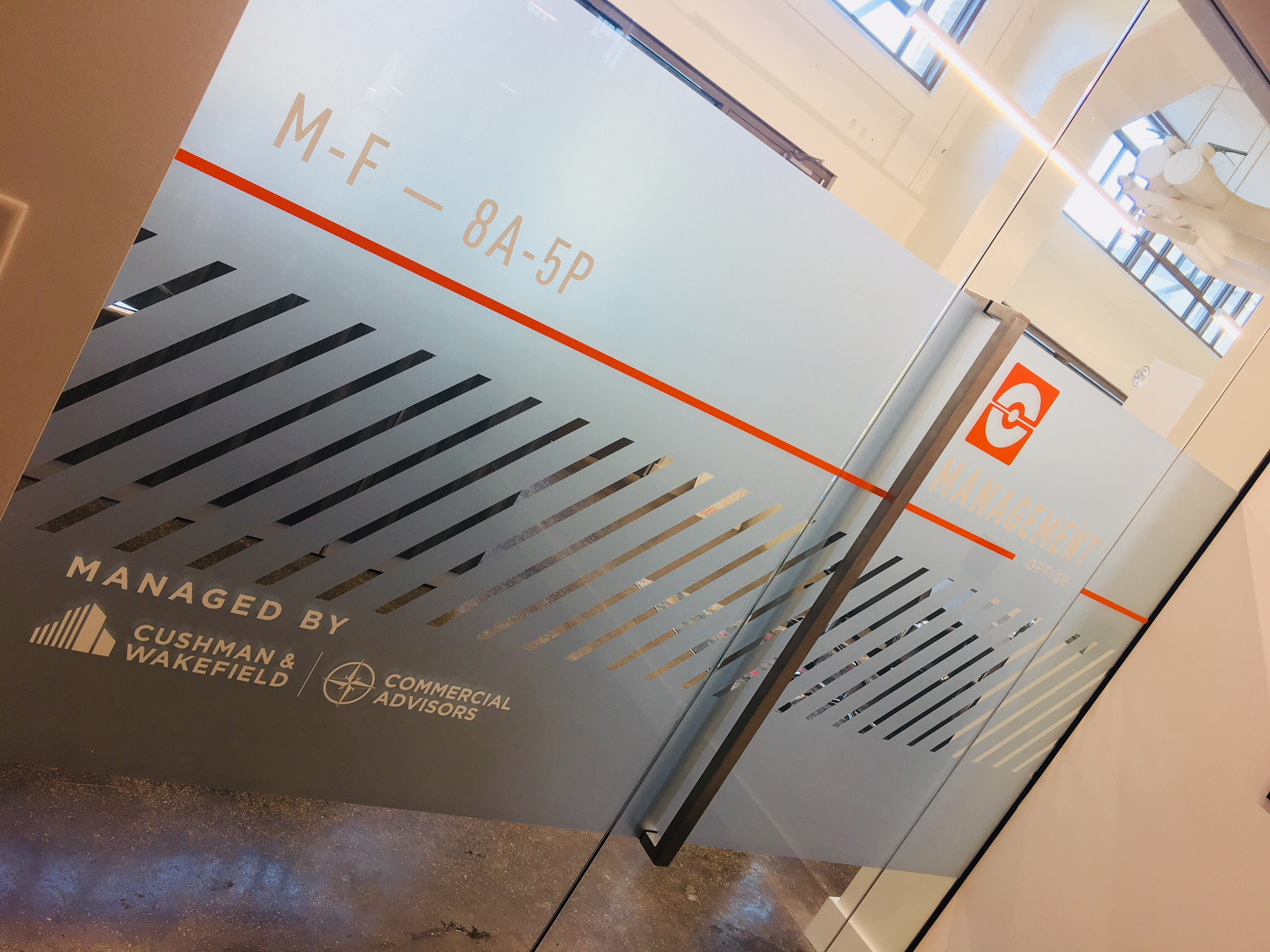 Crosstown Concourse Etched Glass w/ Vinyl Graphics