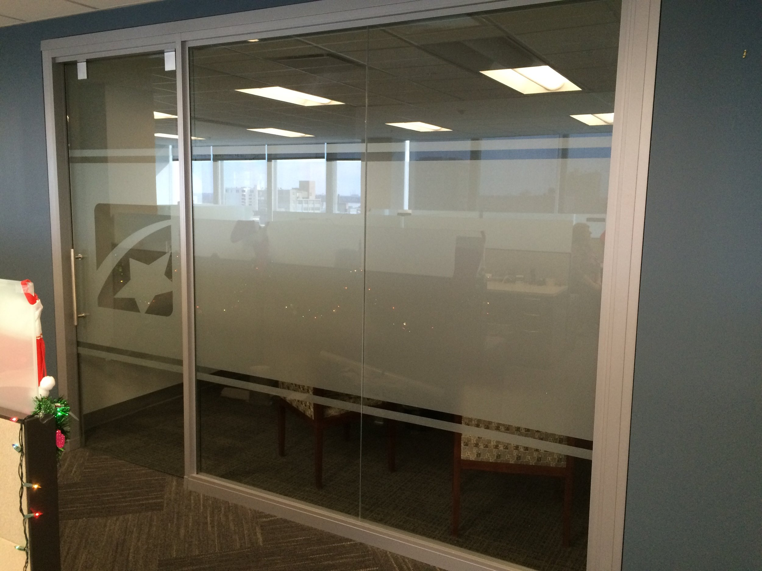 First Tennessee Multi-Opacity White Film Privacy Glass
