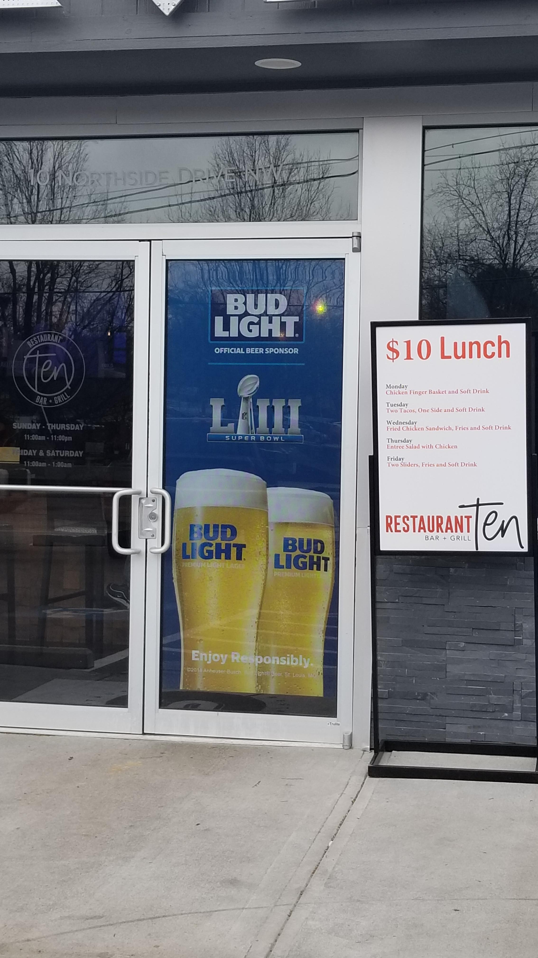 Anheuser-Busch-Super-Bowl-LIII_Restaurant-Ten_Window-Graphics_Events_LSIGraphics_Atlanta-GA_3 ..