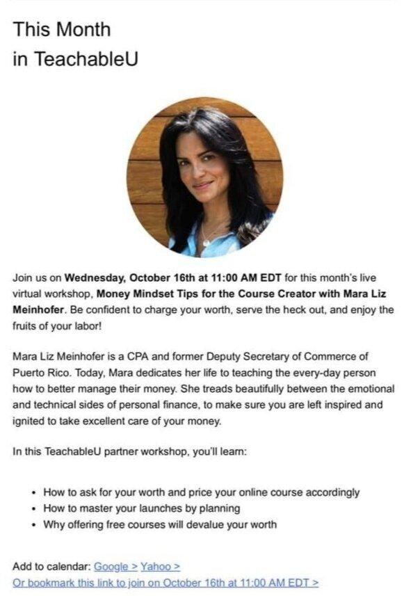 Mara Liz Meinhofer Money Financial Expert Speaker%2BTeachable%2BMoney Mindset for the Course Creators Teachable University