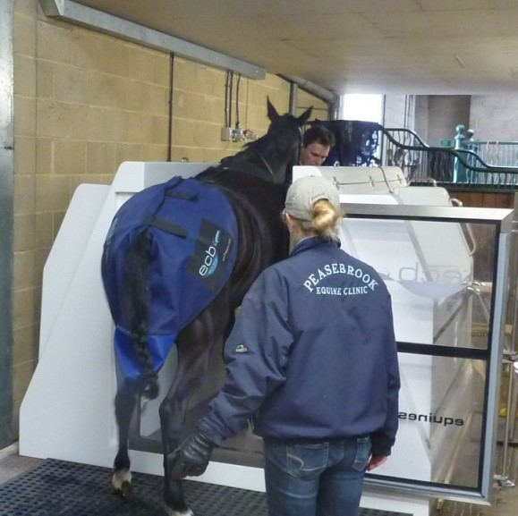 Entering the spa having been fitted with a nappy.