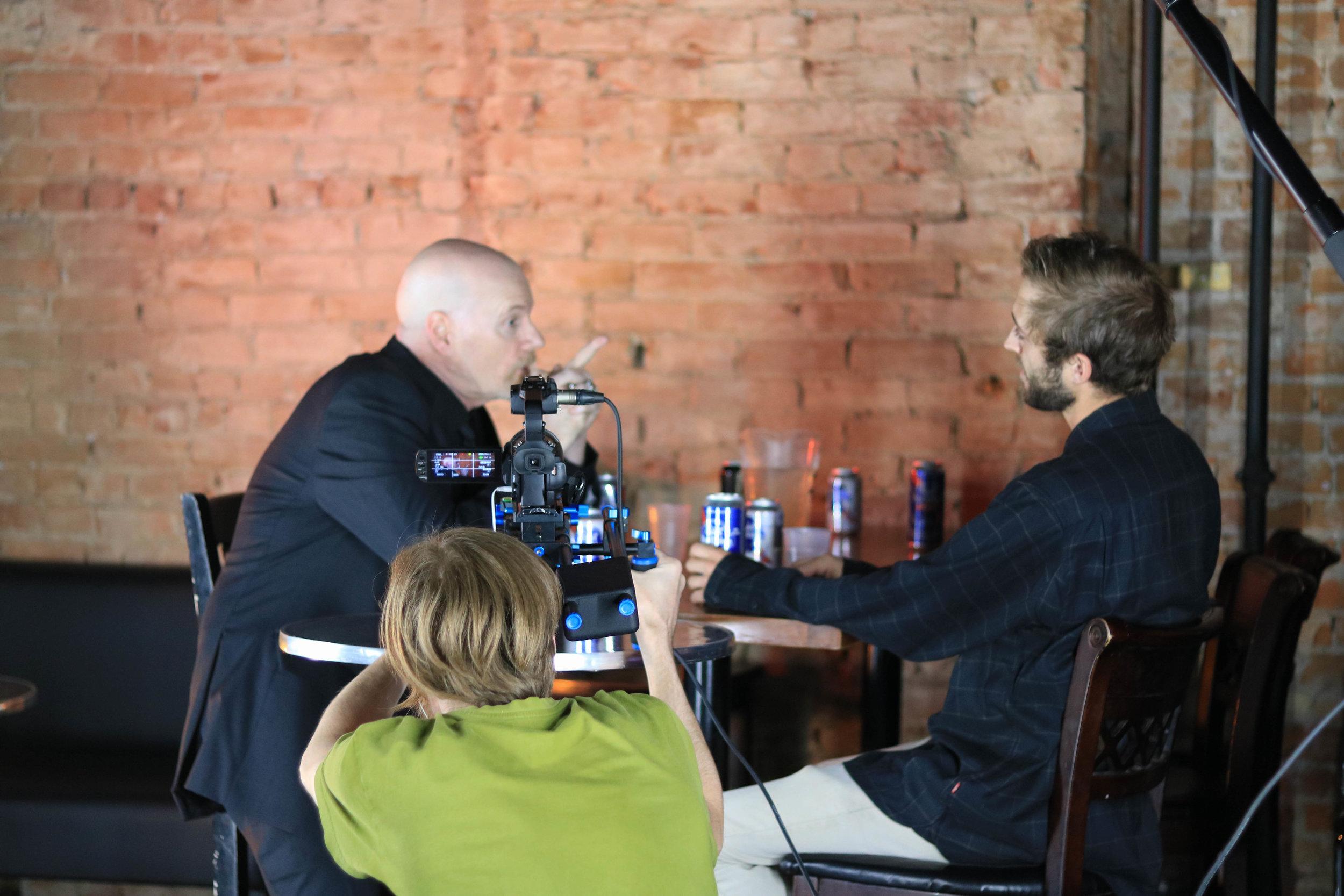 "On set of "".44"" with Cinematographer Darryl Ayles, actors David Parisian and Zachary Litt"