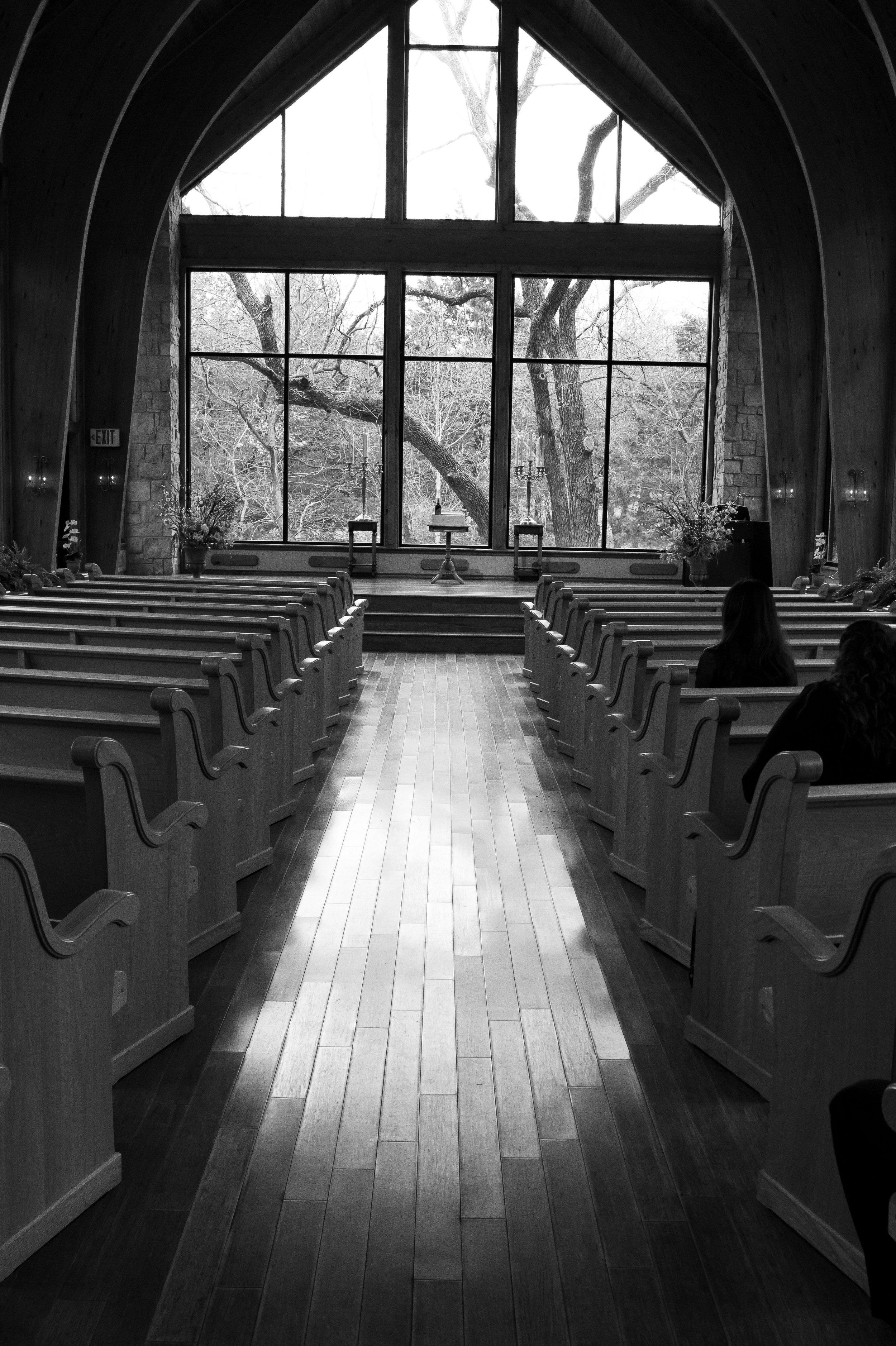 Thunderbird Chapel before Intimate Wedding Ceremony in Oklahoma