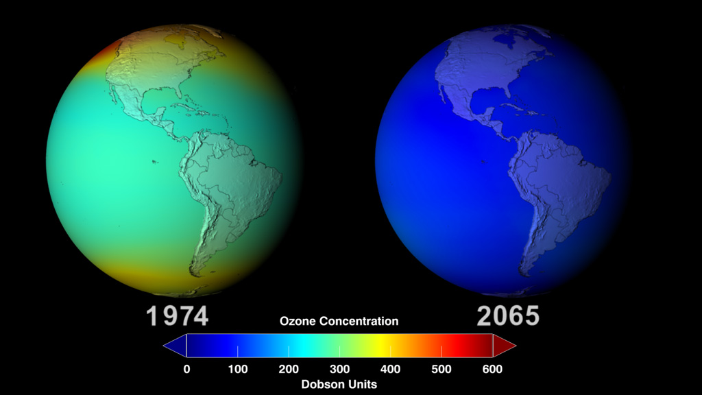 Projection of the ozone concentration in 2065 without the Montreal Protocol