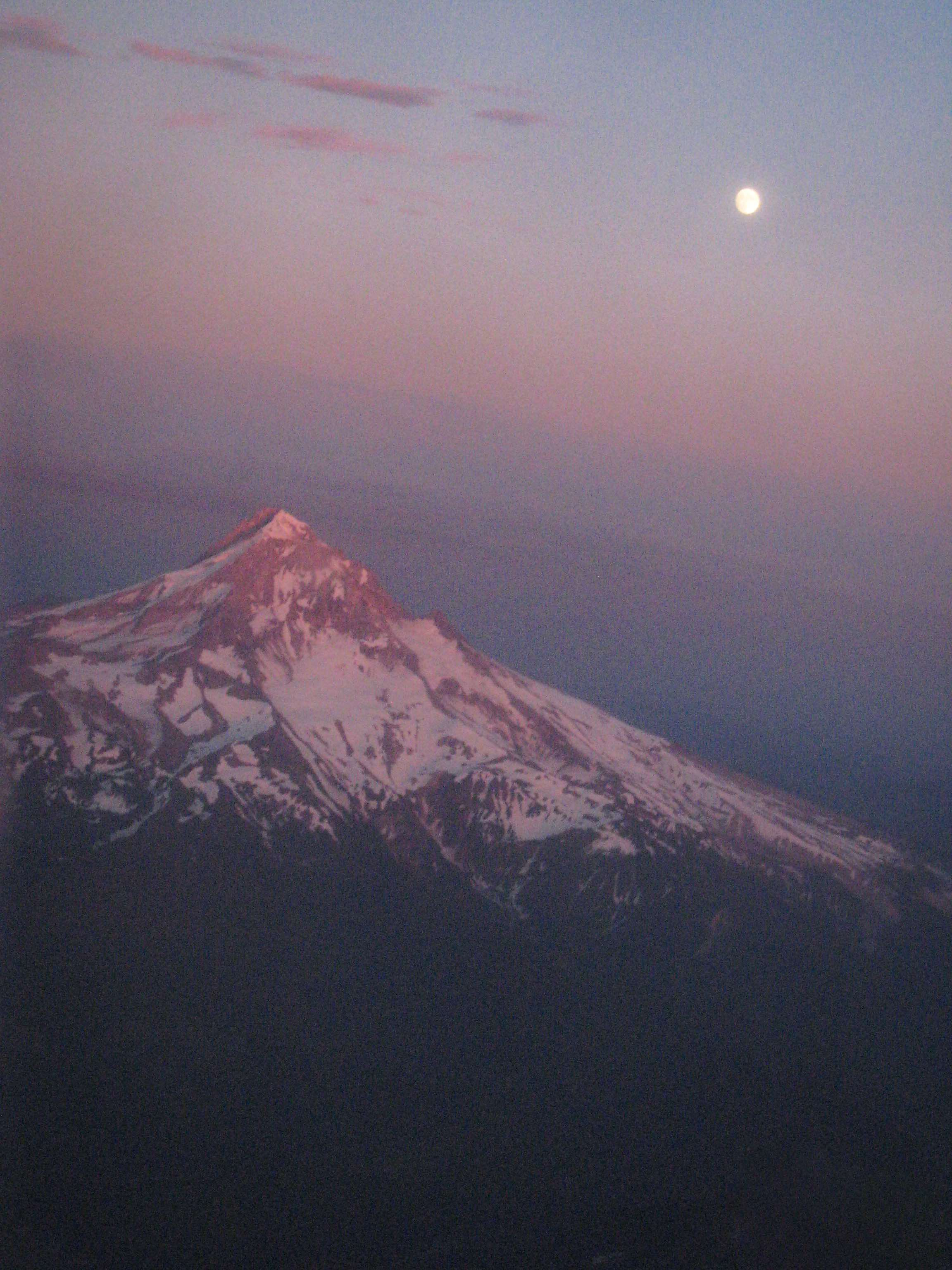 Moon Over Snow Covered Mount Hood