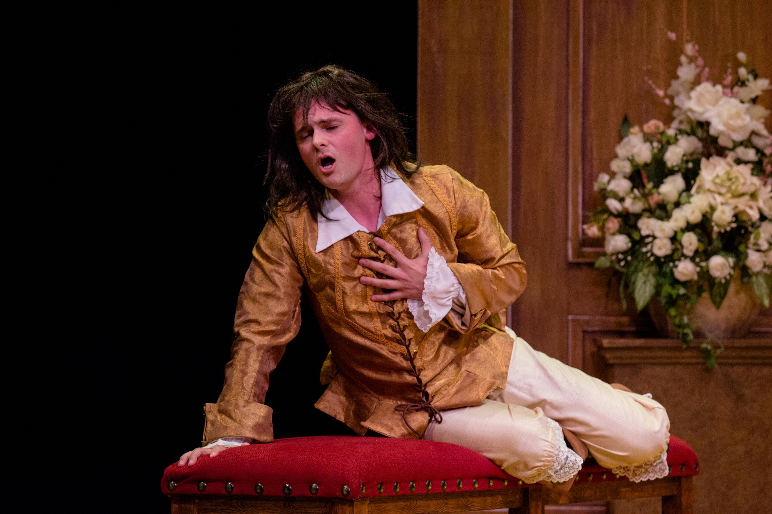 Nolan as a heartbroken Valère in Kirke Mechem's  Tartuffe  at Opera NUOVA in Edmonton, 2018.