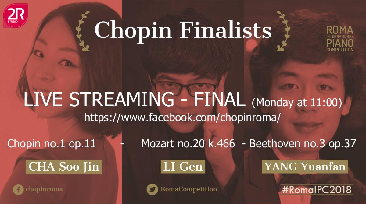 Chopin Finalists - live streaming della finale con orchestra del XXVIII Roma International Piano Competition - Teatro Quirino - ROMAMonday 5 November at 11,00 AM