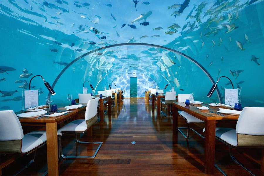 Undervandsrestaurant på Conrad Rangali