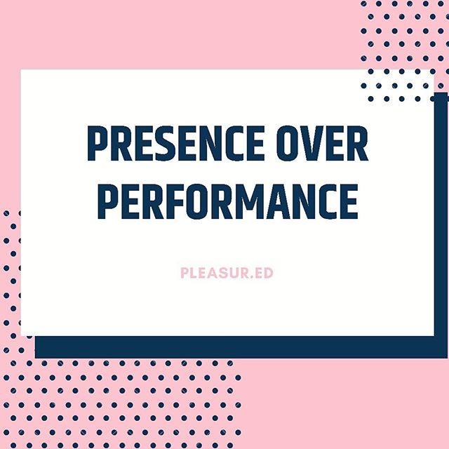 "PRESENCE OVER PERFORMANCE . . 🧠Unfortunately, our culture loves to focus on PERFORMANCE when we're talking about sex and pleasure. Many of us are so concerned about our ability to perform, or provide partners with pleasure, that we become cognitively distracted. Thoughts like ""are they enjoying this?"" or ""am I doing this right?"" steal our ability to be present in that moment of intimacy. . . 🧠Cognitive distractions like these can lower sexual satisfaction and lead to less persistent orgasms. The second we remove ourselves from the ""here and now"" our body's response to pleasure becomes inhibited! (PSA: orgasms should not be the ultimate goal of sex & play- instead they should be looked at as a nice bonus 😉) . . 🧠So how can we stop ourselves from being performance-focused and be more present in our pleasure? Here are a few ways you can stay in the moment! (Continued in the comments) . . 🧠 BREATHE - Slow, deep breathing can help us to stay present in the moment and relax the body making it easier to receive pleasure. . . 🧠 Tap into your erotic thoughts - If your mind begins to wander bring your thoughts back to something sexy, not your grocery list or how your body must look to your partner... . . 🧠 Focus on sensation - a more specific way to focus on what's happening in your body is to focus on the sensations you're feeling. Sometimes this is helpful for me to do with eyes closed! By doing so I'm able to reconnect to my breathing, focus on where in my body I'm experiencing pleasure/sensation, and stay right there - in the moment! . . 🧠 Check in with your partner!! - This is the best way you can be a great lover! Ask your partner what they like or how they're feeling- by doing so you are each present in that moment and it is a collaborative experience. Not to mention, descriptive requests in bed makes for HOT communication!! . . 🧠How else can we focus on presence instead of performance?? . . #sexed #pleasure #sexuality #wellness #bodypositive #sexpositive #mindfulness #performance #awareness #communication #breathe #sensatiom #education #presence"