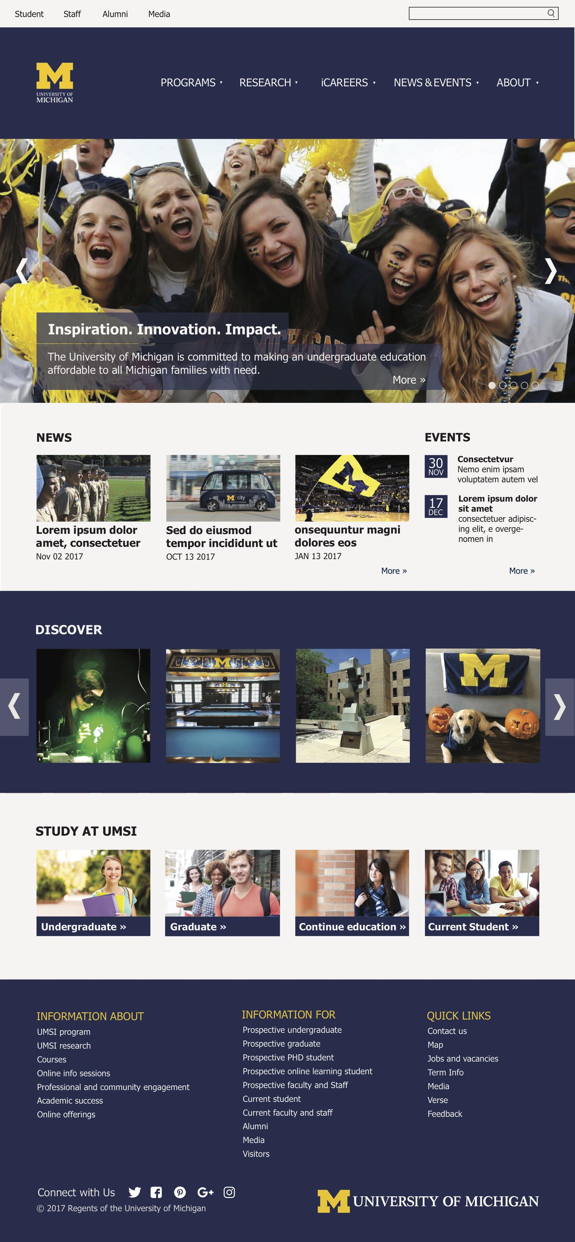 School of Information homepage redesign
