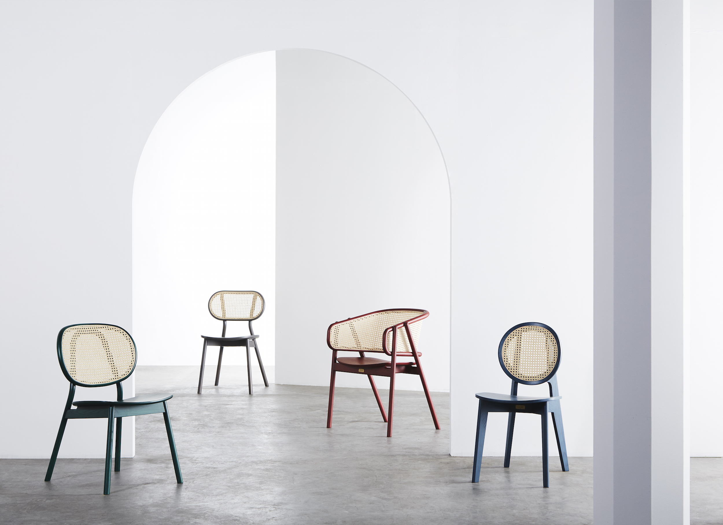 Cane Chair - 04  (Tropical Green) /  Cane Chair - 03  (Light Grey) /  Cane Armchair - 01  (Dark Red) /  Cane Chair - 02  (Ocean Blue)