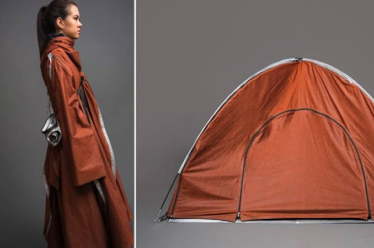 Adiff Tent Coat - Surprise everyone when you take off your jacket and use it as a shelter. This convertible jacket transforms into a tent. Assembled as a tent, it can comfortably fit 1-2 people. The Adiff Tent Coat operates on a buy-one-give-one model: for every jacket purchased, Adiff donate a jacket to a displaced person.