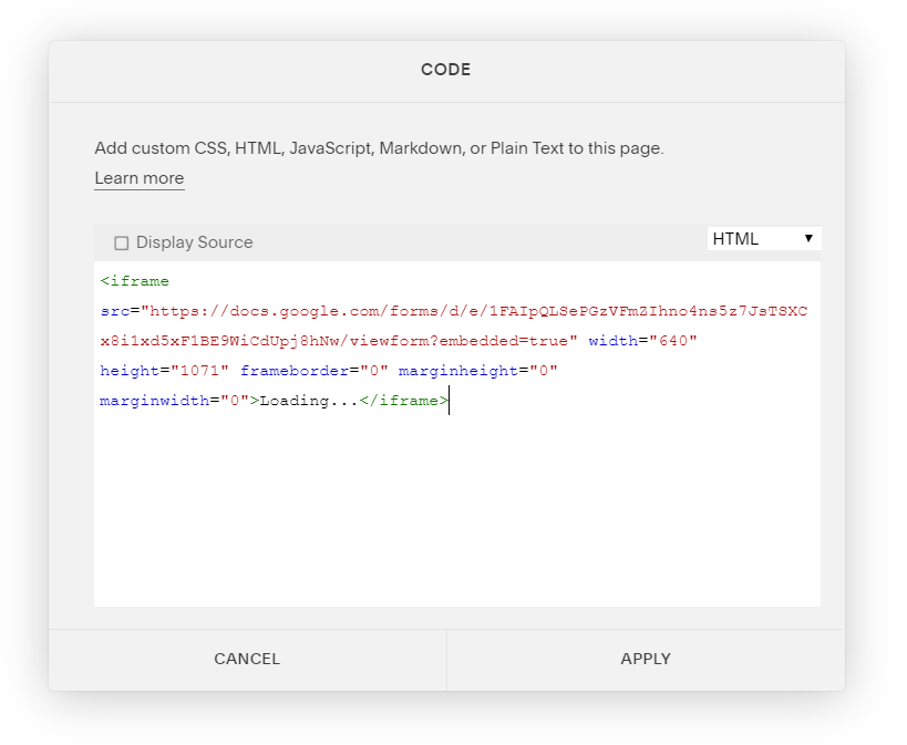 Embedding Google Forms into your Squarespace Site — Blank