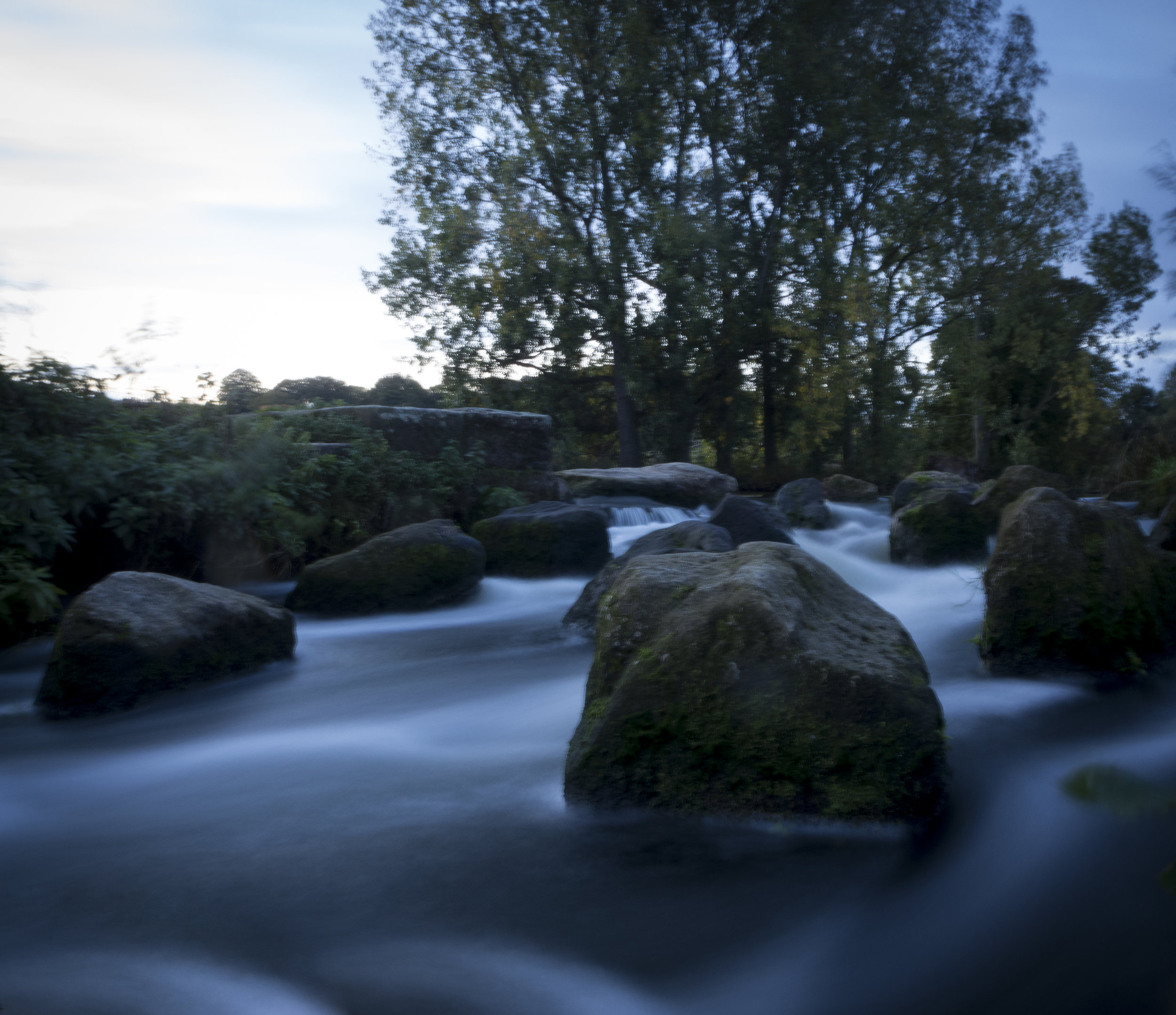 The boulder Race - Taken straight after the image above but because I was facing away from the rising sun manged to get the exposure to 13 sec. at f20 but the trees really spoil the shot, it could have been a more interesting shot otherwise.