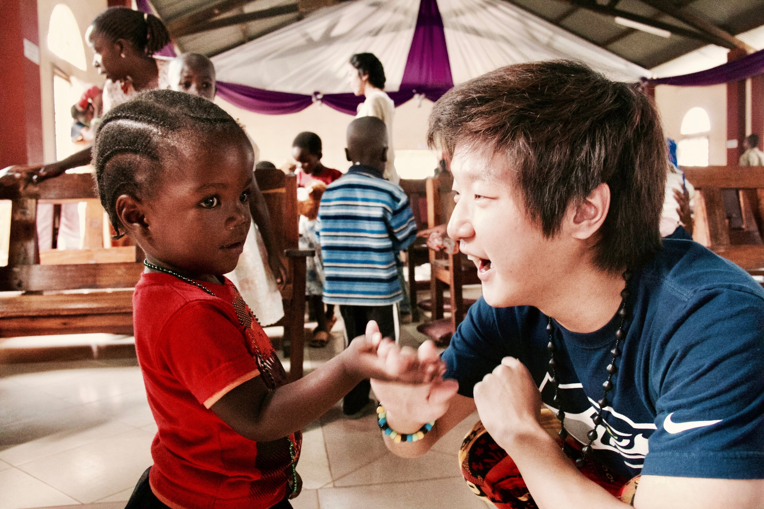 Volunteer Tyler Choi on the first Hugs for Tanzania trip.