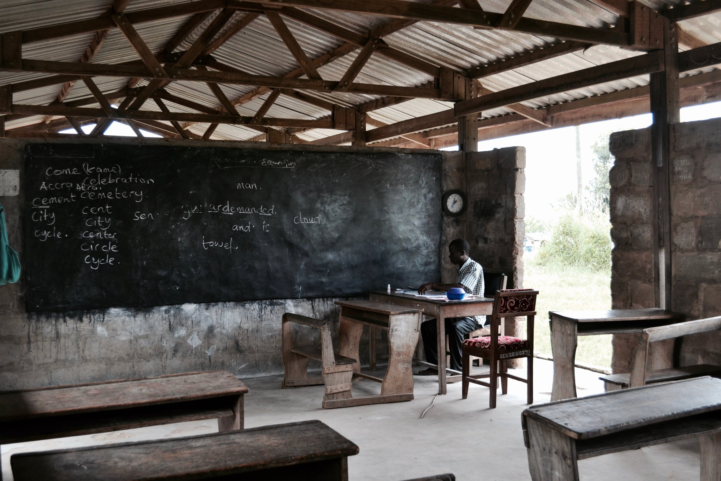 A typical Ghanaian classroom at Tikobo II Elementary