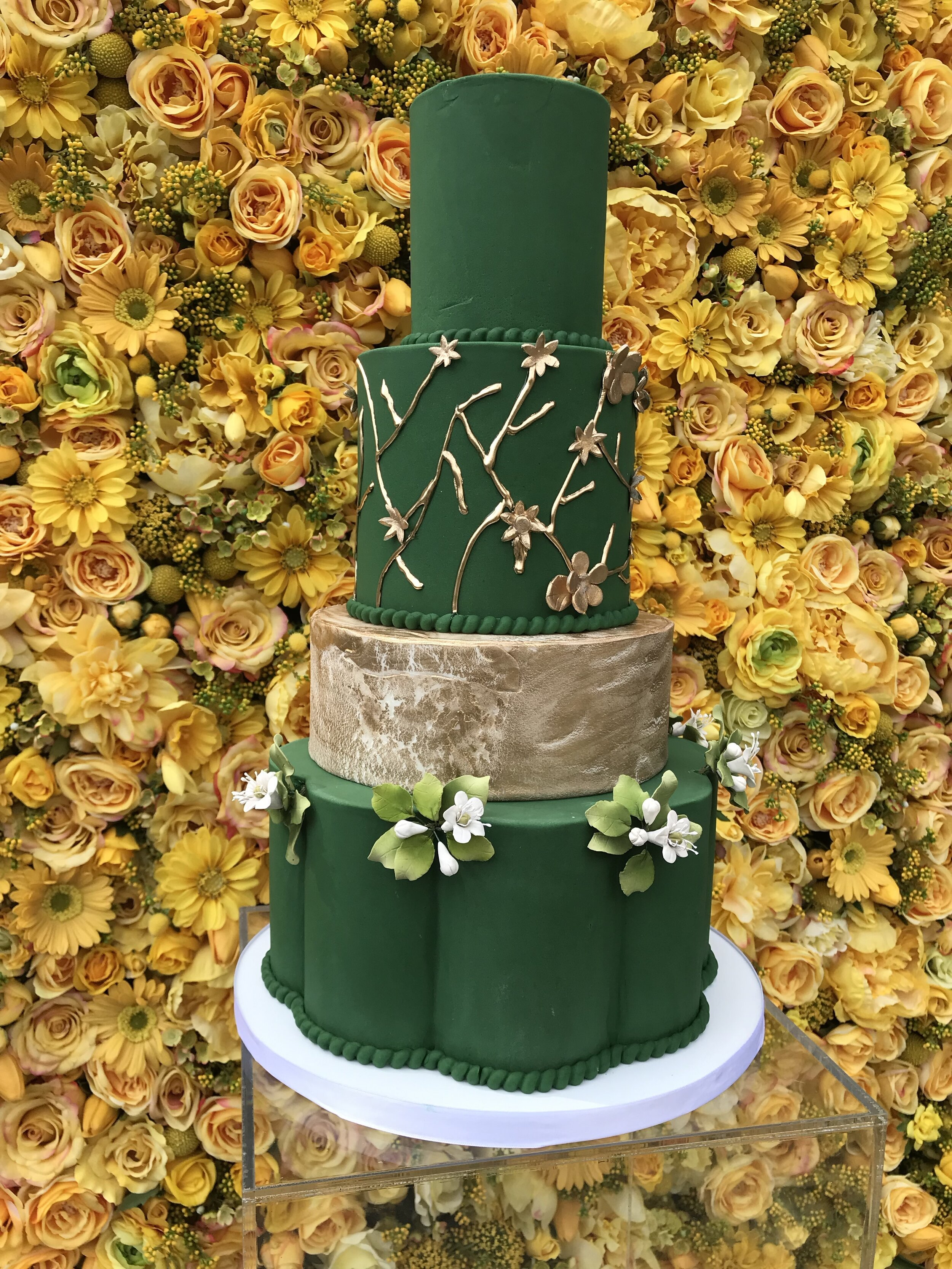 Silk Flower Wall with Cake