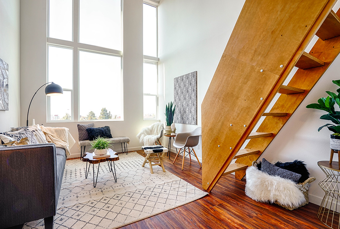 lofts & studios - 16 foot ceiling, incredible views to Seattle skyline, Olympic Mountains, rooftop deck with BBQ, private balconies and patios—these are just a few of the reasons to choose Thomas St Lofts for your new home.